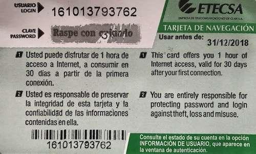 Get WiFi access in Cuba back card