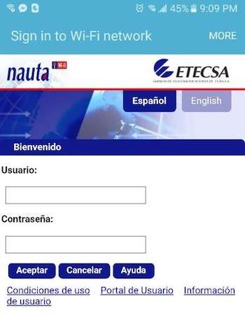 wifi access in Cuba Etecsa login screen