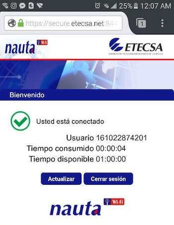 wifi access in Cuba Etecsa logoff screen