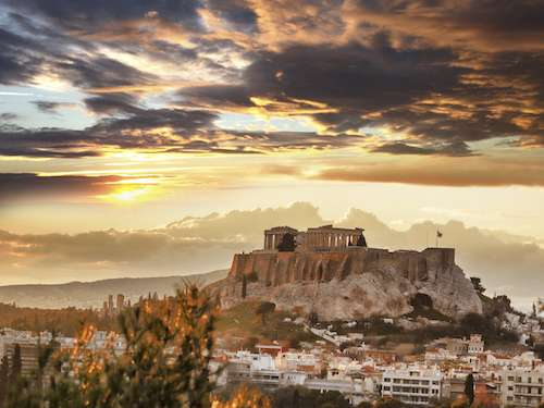 Fire sunset over Acropolis Athens Greece group travel
