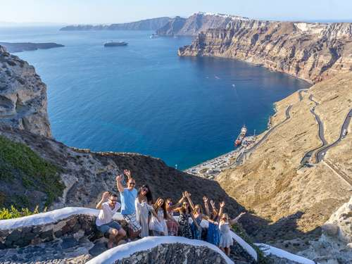 Santorini Greece group views on cliff