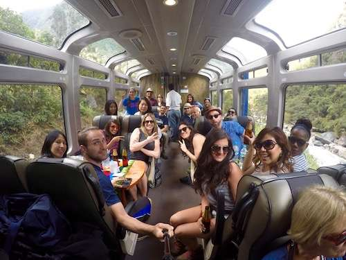 Selfie on the train to Aguas Calientes Peru
