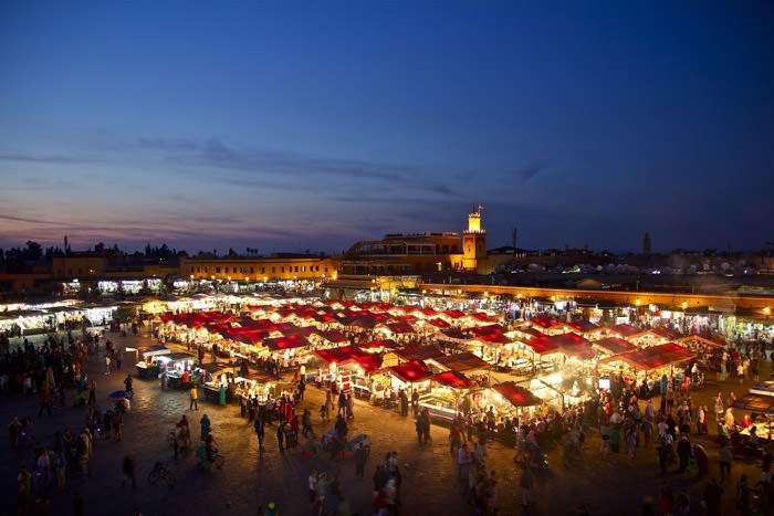Night medina in Marrakech Morocco