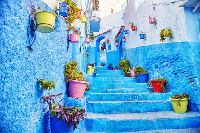 Famous blue city of Chefchaouen Morocco