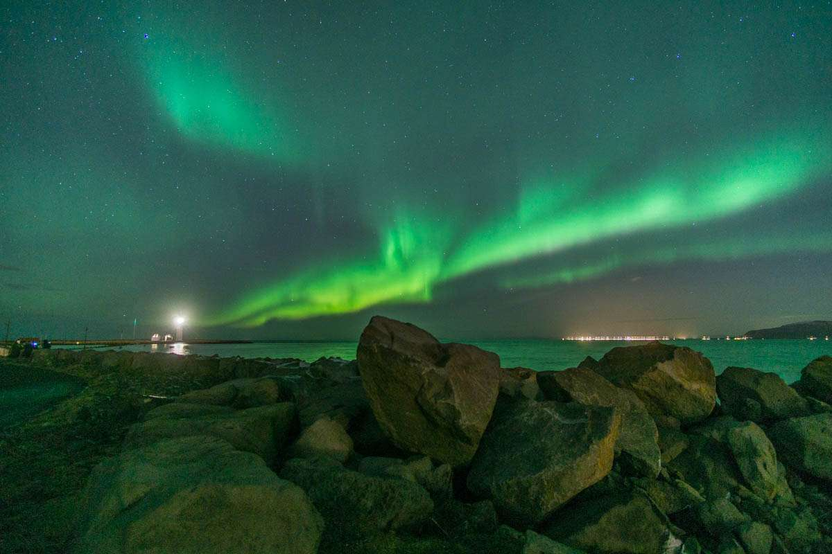Blazing Northern Lights in Reykjavik