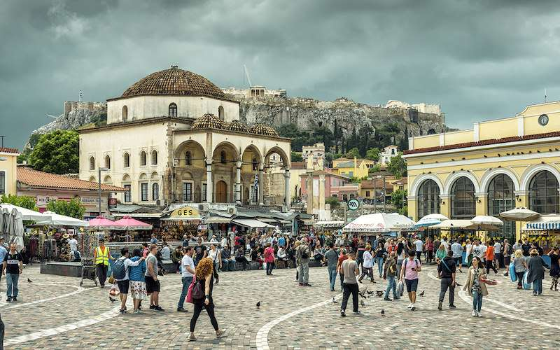 Busy monastiraki square athens