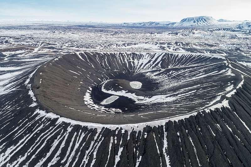 Hverfjall crater rim trail Iceland