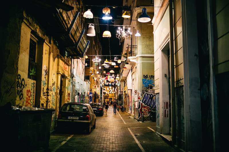 Pittaki street Athens Greece