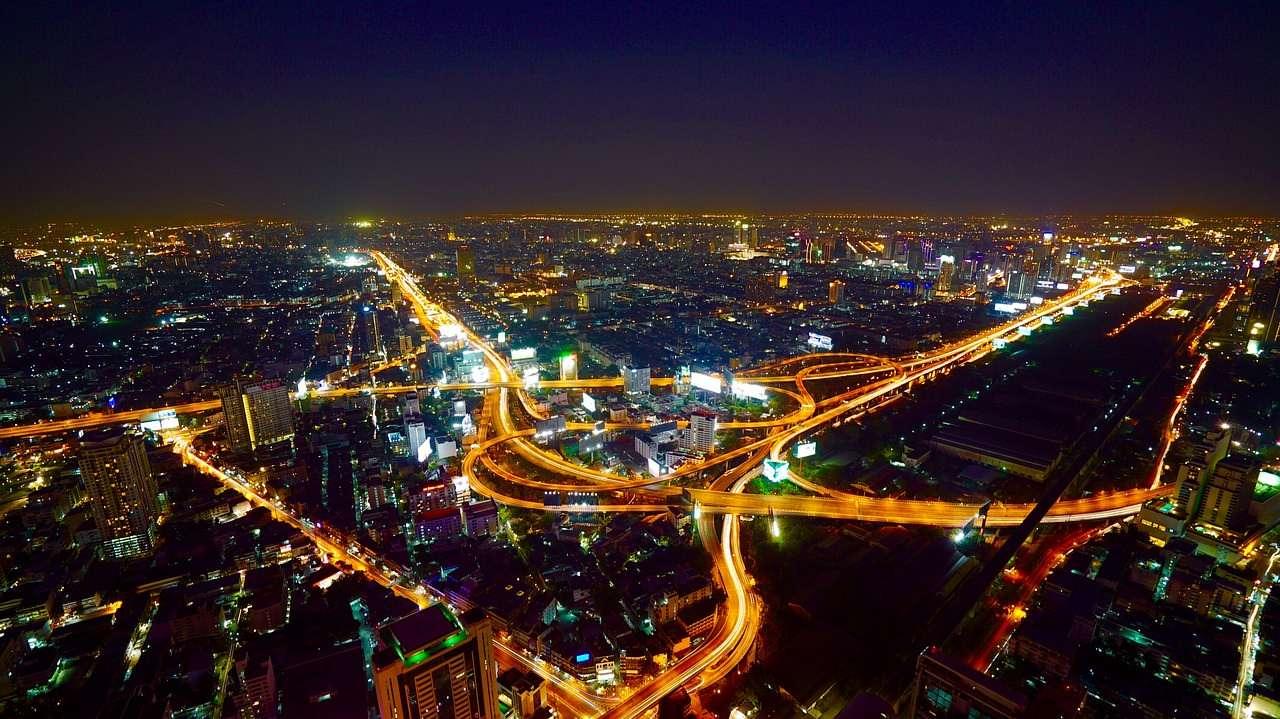 Aerial Bangkok Thailand at night
