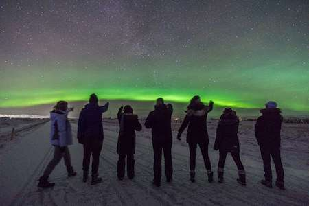 Northern Lights group picture from Iceland trip