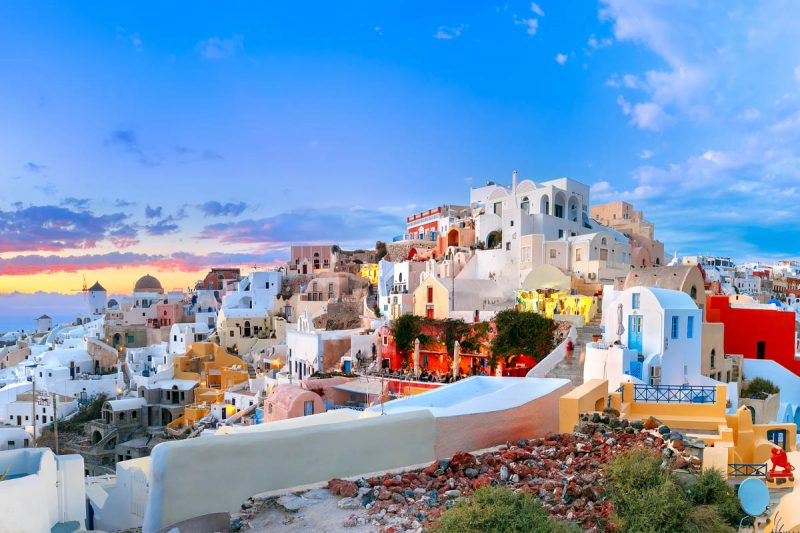 Beautiful pastel colors of Santorini Greece