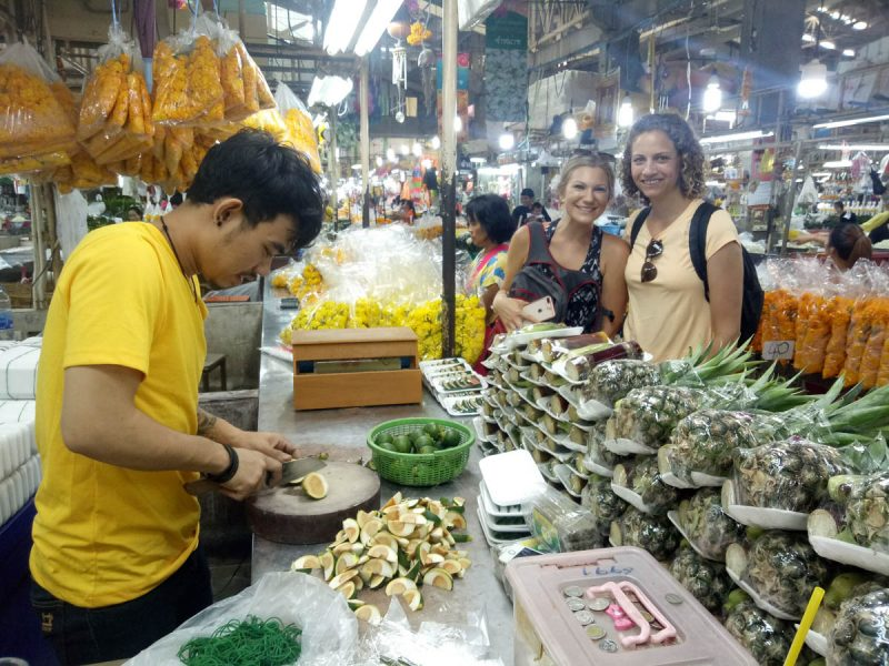 Shopping for the cooking class in Chiang Mai Thailand