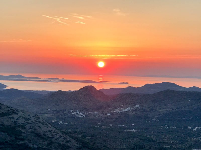 Sunset views in Filoti Naxos Greece