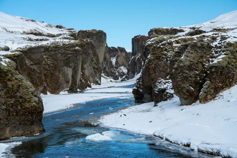 Fjadrargljufur Canyon in the snow