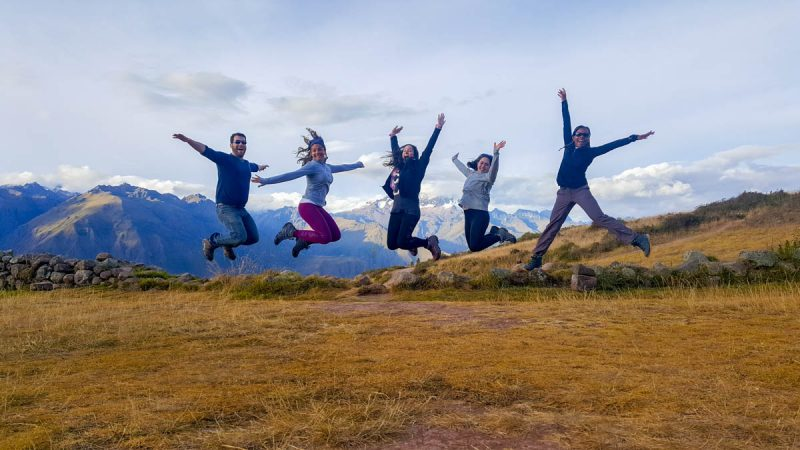 Jumping for joy in the Sacred Valley Peru