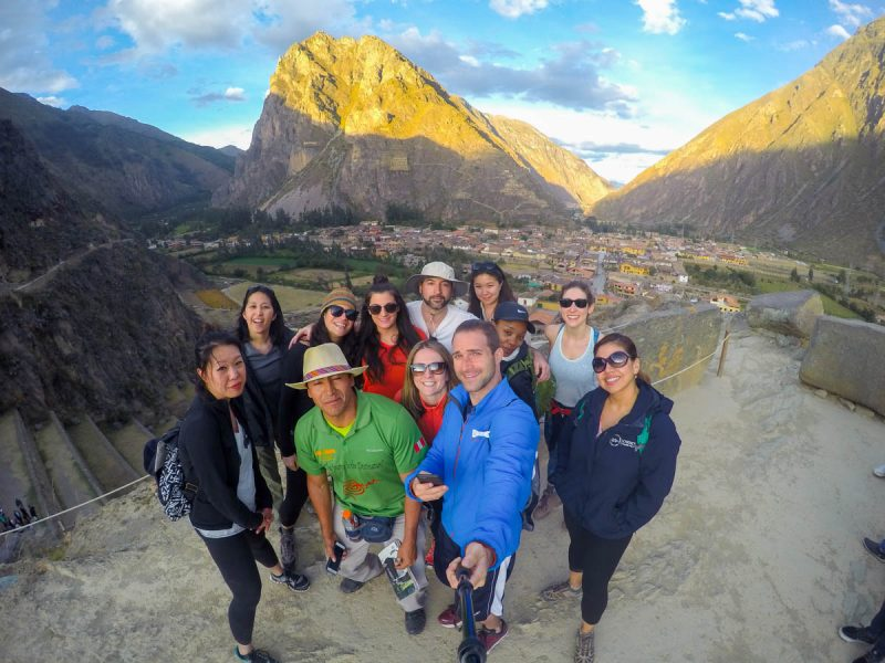 Group selfie in Ollantaytambo Peru