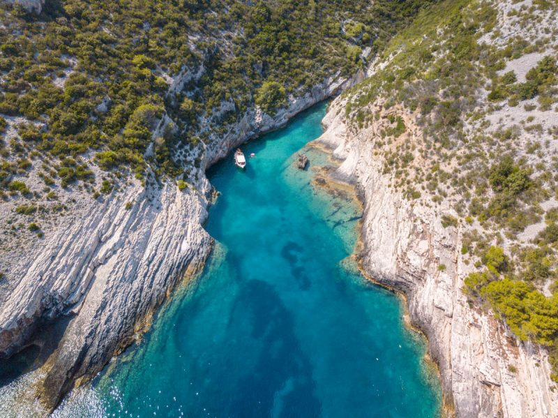 Secret swimming cove Vis island Croatia