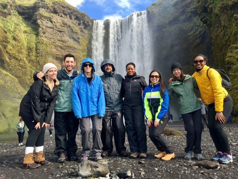 Skogafoss waterfall group shot